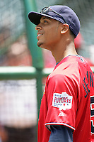 Desmond Jennings of the Tampa Bay Rays organization participates in the Futures Game at Angel Stadium in Anaheim,California on July 11, 2010. Photo by Larry Goren/Four Seam Images