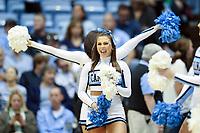 CHAPEL HILL, NC - JANUARY 4: A University of North Carolina Cheerleader during a game between Georgia Tech and North Carolina at Dean E. Smith Center on January 4, 2020 in Chapel Hill, North Carolina.