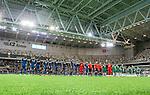 Stockholm 2015-02-16 Fotboll Tr&auml;ningsmatch Hammarby IF - LA Galaxy :  <br /> Hammarbys och La Galaxys spelare under en lineup i Tele2 Arena inf&ouml;r matchen mellan Hammarby IF och LA Galaxy <br /> (Foto: Kenta J&ouml;nsson) Nyckelord:  Fotboll Tr&auml;ningsmatch Tele2 Arena Hammarby HIF Bajen Los Angeles LA Galaxy inomhus interi&ouml;r interior supporter fans publik supporters