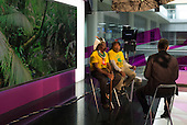 09 June 2014. Kayapo Chiefs Raoni Metuktire and Megaron Txucarramae during their visit to London. Interview with Paul Mason for Channel 4 News. The chiefs sit in front of a rainforest backdrop being interviewed by Paul Mason in the studio.
