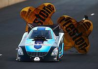 Jul. 18, 2014; Morrison, CO, USA; NHRA funny car driver Jeff Diehl during qualifying for the Mile High Nationals at Bandimere Speedway. Mandatory Credit: Mark J. Rebilas-