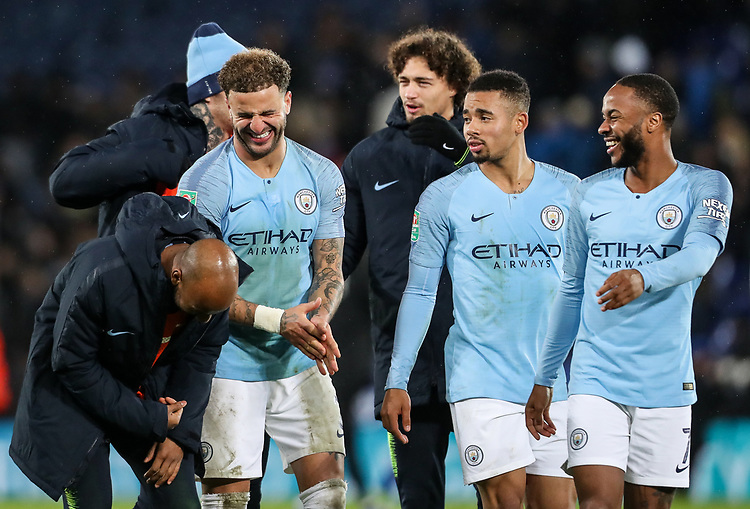 Manchester City 's Kyle Walker, Gabriel Jesus and Raheem Sterling share a joke at the end of the match<br /> <br /> Photographer Andrew Kearns/CameraSport<br /> <br /> English League Cup - Carabao Cup Quarter Final - Leicester City v Manchester City - Tuesday 18th December 2018 - King Power Stadium - Leicester<br />  <br /> World Copyright © 2018 CameraSport. All rights reserved. 43 Linden Ave. Countesthorpe. Leicester. England. LE8 5PG - Tel: +44 (0) 116 277 4147 - admin@camerasport.com - www.camerasport.com