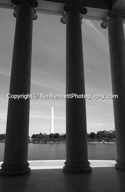 Washington Monument from Jefferson memorial Washington D.C., pillars, Washington Monument from Jefferson Memorial pillars, Founding Fathers of the United States, Father of the Country, Continental Army, Great Britain, Constitutional Convention, Washington Monument, an obelisk, west end of the National Mall Washington DC, General George Washington, Marble, granite, stand stone, tallest structure in Washington DC,  555 feet, Designed by Robert Mills architect in 1840, reflecting pool, Fine Art Photography by Ron Bennett, Fine Art, Fine Art photo, Art Photography,