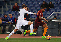 Calcio, Serie A: Roma vs Fiorentina. Roma, stadio Olimpico, 7 febbraio 2017.<br /> Roma's Emerson Palmieri, right, is challenged by Fiorentina's Federico Chiesa during the Italian Serie A soccer match between Roma and Fiorentina at Rome's Olympic stadium, 7 February 2017.<br /> UPDATE IMAGES PRESS/Riccardo De Luca