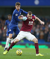 Burnley's Chris Wood and Chelsea's Jorginho<br /> <br /> Photographer Rob Newell/CameraSport<br /> <br /> The Premier League - Chelsea v Burnley - Saturday 11th January 2020 - Stamford Bridge - London<br /> <br /> World Copyright © 2020 CameraSport. All rights reserved. 43 Linden Ave. Countesthorpe. Leicester. England. LE8 5PG - Tel: +44 (0) 116 277 4147 - admin@camerasport.com - www.camerasport.com
