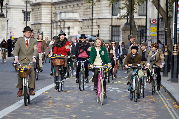 Gabilicious, Mark-Francis Vandelli and Amber Atherton from Made in Chelsea cycling on The Tweed Run, London