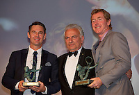 France, Paris, 03.06.2014. Tennis, French Open, Roland Garros, ITF Champions diner, President International Tennis Federation Francesco Ricci Bitti presents the Philippe Chatrier Award toTodd Woodbridge and Mark Woodforde (R)<br /> Photo:Tennisimages/Henk Koster