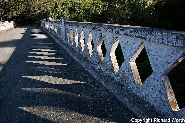 Morning sun is filtered by and bounces off of a bridge crossing Ano Nuevo Creek, on a trail just south of the Ano Nuevo State Park.