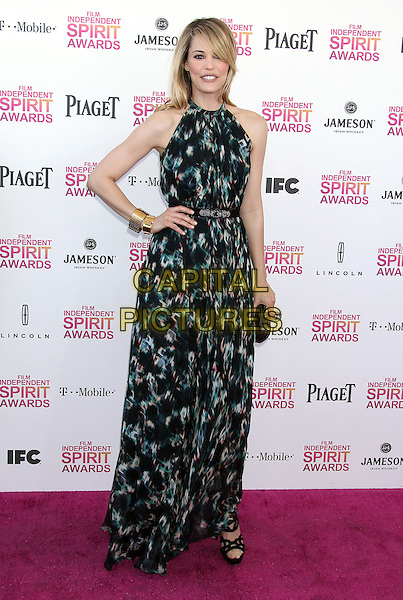 Leslie Bibb.2013 Film Independent Spirit Awards - Arrivals Held At Santa Monica Beach, Santa Monica, California, USA,.23rd February 2013..indy indie indies indys full length hand on hip print dress maxi black green gold cuff clutch bag sleeveless.CAP/ADM/RE.©Russ Elliot/AdMedia/Capital Pictures