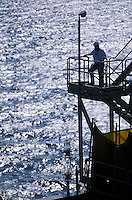 worker on offshore petrolium production platform
