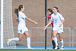 16 November 2013: North Carolina's Kealia Ohai (7) celebrates her first goal with Summer Green (6). The University of North Carolina Tar Heels hosted the Liberty University Flames at Fetzer Field in Chapel Hill, NC in a 2013 NCAA Division I Women's Soccer Tournament First Round match. North Carolina won the game 4-0.