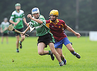 6th October 2013; Ger Towhig, Lucan Sarsfields, in action against John Nugent, St Josephs OBC. Dublin Junior F Hurling Championship Group A, Lucan Sarsfields v St Josephs OBC, 12th Lock, Lucan, Co Dublin. Picture credit: Tommy Grealy / Actionshots.ie