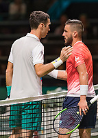 Rotterdam, The Netherlands, 14 Februari 2019, ABNAMRO World Tennis Tournament, Ahoy, Damir Dzumhur (BIH) - Mikhail Kukushkin (KAZ),<br /> Photo: www.tennisimages.com/Henk Koster