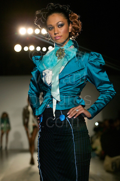 15 black British designers showcased their collections at the second Kulture2Couture event taking place at the V&A Museum in London. Kulture2Couture is a unique platform for acknowledging, showcasing and promoting black British designers as the originators and innovators of culturally significant and stylish trends. In 2005, over 3,000 people attended the Kulture2Couture weekend. The event is supported by the Mayor of London's office. (Photo: Bettina Strenske)