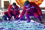 Foto: VidiPhoto<br /> <br /> <br /> RHENEN &ndash; Zeventien Chinese technici werken donderdag bijna 11.000 kilometer van huis om in Ouwehands Dierenpark in Rhenen over enkele weken een spectaculaire lichtshow neer te zetten. Met man/vrouw wordt uit alle macht gewerkt om voor 30 november, als het evenement begint, de 1572 lichtgevende ornamenten gereed te krijgen. Metershoge lichtgevende kunstobjecten van Chinese kunstenaars worden de komende weken in het hele park geplaatst. Sommige 3D-lichtsculpturen zijn wel 8 meter hoog. De lichtkunstwerken zijn allemaal vervaardigd door ambachtsmensen uit Zigong, dat in de Chinese provincie Sichuan ligt. Deze stad staat bekend om haar lichtfestival. Sichuan is ook de provincie waar de twee reuzenpanda&rsquo;s vandaan komen die sinds 2017 in Ouwehands Dierenpark verblijven. Vanaf 30 november is Ouwehands ruim een maand lang ook in de avonduren geopend.