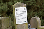 Close up sign for Conservation grazing by Hebridean sheep on Suffolk Wildlife trust managed land, Sutton, Suffolk, England