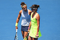 L-R Sara Errani (ITA) and Bibiane Schoofs (NL) during the ASB Classic WTA Women's Tournament Day 7 Doubles Final. ASB Tennis Centre, Auckland, New Zealand. Sunday 7 January 2018. ©Copyright Photo: Chris Symes / www.photosport.nz