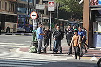 SAO PAULO, SP, 20/05/2014, GREVE ONIBUS SAO PAULO. Motorista e cobradores cruzam os bracos na ruas centrais de Sao Paulo, no final da manha dessa terca-feira (20). Grevistas e onibus estacionados na Av. Duque de Caxias.LUIZ GUARNIERI/BRAZIL PHOTO PRESS.
