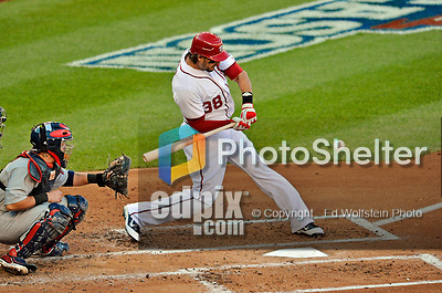 11 October 2012: Washington Nationals outfielder Michael Morse in action during Postseason Playoff Game 4 of the National League Divisional Series against the St. Louis Cardinals at Nationals Park in Washington, DC. The Nationals defeated the Cardinals 2-1 on a 9th inning, walk-off solo home run by Jayson Werth, tying the Series at 2 games apiece. Mandatory Credit: Ed Wolfstein Photo
