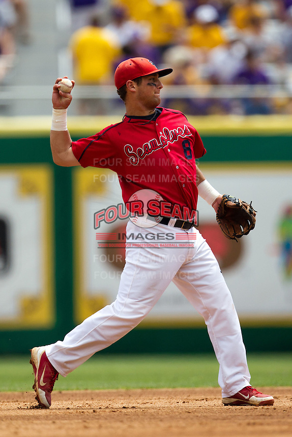 Stony Brook Seawolves second baseman Maxx Tissenbaum #8 throws to first during the NCAA Super Regional baseball game against LSU on June 9, 2012 at Alex Box Stadium in Baton Rouge, Louisiana. Stony Brook defeated LSU 3-1. (Andrew Woolley/Four Seam Images)