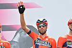 Vincenzo Nibali (ITA) Bahrain-Merida at sign on before the start of Stage 13 of the 2019 Giro d'Italia, running 196km from Pinerolo to Ceresole Reale (Lago Serrù), Italy. 24th May 2019<br /> Picture: Massimo Paolone/LaPresse | Cyclefile<br /> <br /> All photos usage must carry mandatory copyright credit (© Cyclefile | Massimo Paolone/LaPresse)