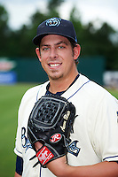 Mobile BayBears pitcher Aaron Blair (43) poses for a photo before a game against the Mississippi Braves on April 28, 2015 at Hank Aaron Stadium in Mobile, Alabama.  The game was suspended after the top of the second inning with Mobile leading 3-0, the BayBears went on to defeat the Braves 6-1 the following day.  (Mike Janes/Four Seam Images)