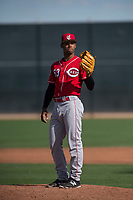 Cincinnati Reds relief pitcher Dauri Moreta (53) during a Minor League Spring Training game against the Los Angeles Angels at the Cincinnati Reds Training Complex on March 15, 2018 in Goodyear, Arizona. (Zachary Lucy/Four Seam Images)