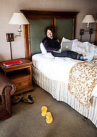 Stéphanie Souron (cq) in her hotel room in Breckenridge, Colorado, Thursday, March 22, 2012...Photo by Matt Nager