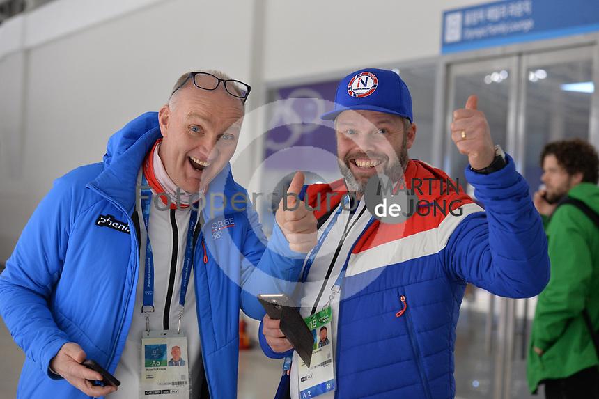 OLYMPIC GAMES: PYEONGCHANG: 19-02-2018, Gangneung Oval, Long Track, Roger Gjelsvik (coach NOR), Lasse Saetre (team NOR),  ©photo Martin de Jong