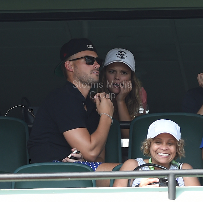 KEY BISCAYNE, FL - MARCH 27: Danish Sports Illustrated cover model Nina Agdal with her boyfriend Reid Heidenry at the Miami Open day 5 at Crandon Park Tennis Center on March 27, 2015 in Key Biscayne, Florida<br /> <br /> <br /> People:  Nina Agdal, Reid Heidenry<br /> <br /> Transmission Ref:  FLXX<br /> <br /> Must call if interested<br /> Michael Storms<br /> Storms Media Group Inc.<br /> 305-632-3400 - Cell<br /> 305-513-5783 - Fax<br /> MikeStorm@aol.com