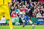 Jorge Resurreccion Merodio, Koke, of Atletico de Madrid is challenged by Kevin Kampl of Bayer 04 Leverkusen during their 2016-17 UEFA Champions League Round of 16 second leg match between Atletico de Madrid and Bayer 04 Leverkusen at the Estadio Vicente Calderon on 15 March 2017 in Madrid, Spain. Photo by Diego Gonzalez Souto / Power Sport Images