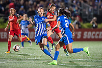 Boston, MA - Sunday September 10, 2017: Julie King, Hayley Raso during a regular season National Women's Soccer League (NWSL) match between the Boston Breakers and Portland Thorns FC at Jordan Field.