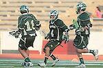 Redondo Beach, CA 05/11/10 - Thomas Farrell (MC # 18), Conor Murphy (MC # 4) and Marcus Egeck (MC # 9) in action during the 2010 Los Angeles Boys Lacrosse championship game, Mira Costa defeated Palos Verdes 12-10 at Redondo Union High School.