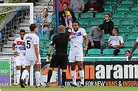 Kevin Lokko of Dagenham is shown a yellow card after conceding a penalty during Eastleigh vs Dagenham & Redbridge, Vanarama National League Football at the Silverlake Stadium on 12th August 2017