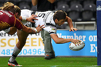 PICTURE BY ALEX WHITEHEAD/SWPIX.COM - Rugby League - Super League Play-Off - Hull FC vs Huddersfield Giants - KC Stadium, Hull, England - 16/09/12 - Hull FC's Tom Briscoe scores a try.