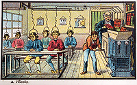 BNPS.co.uk (01202 558833)<br /> Pic:  Hansons/BNPS<br /> <br /> A bizarre vision of a school of the future, with students wired up to a machine being fed textbooks.<br /> <br /> A remarkable set of drawings which were produced in 1899 to predict the future have come to light - and some of the ideas are plain wacky.<br /> <br /> Their outlandish vision of the world in 2000 includes flying cars, whales pulling coaches and games of croquet under the sea.<br /> <br /> The illustrations were produced by a group of French artists for a Paris exhibition entitled 'En L'An 2000'. (In the year 2000)<br /> <br /> They did not foresee a man on the moon or the first computer, but predicted people would be playing tennis with bat wings.