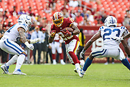 Landover, MD - September 16, 2018: Indianapolis Colts defensive back Matthias Farley (41) tries to tackle Washington Redskins running back Chris Thompson (25) during the  game between Indianapolis Colts and Washington Redskins at FedEx Field in Landover, MD.   (Photo by Elliott Brown/Media Images International)