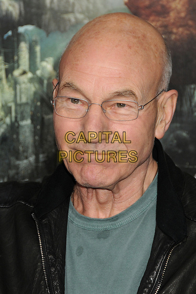 "Patrick Stewart.""Jack The Giant Slayer"" Los Angeles Premiere held at Grauman's Chinese Theatre, Hollywood, California, USA..February 26th, 2013.headshot portrait black leather green top stains stained wet patch glasses .CAP/ADM/BP.©Byron Purvis/AdMedia/Capital Pictures."