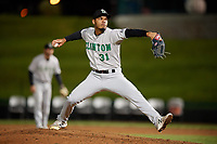 Clinton LumberKings relief pitcher Jeffeson Medina (31) delivers a pitch during a game against the South Bend Cubs on May 6, 2017 at Four Winds Field in South Bend, Indiana.  South Bend defeated Clinton 7-6 in nineteen innings.  (Mike Janes/Four Seam Images)