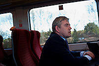 Prime Minister and Labour Party leader Gordon Brown travelling by train back to London after a day of campaigning in the South-West of England.