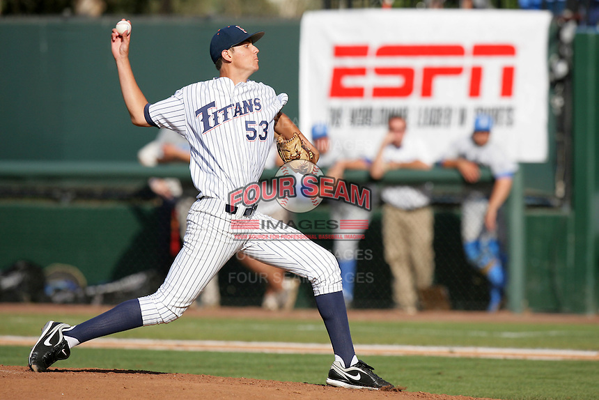 Colin O'Connell of the Cal.St. Fullerton Titans during game against the UCLA Bruins at Jackie Robinson Stadium in Los Angeles,California on June 12, 2010. Photo by Larry Goren/Four Seam Images