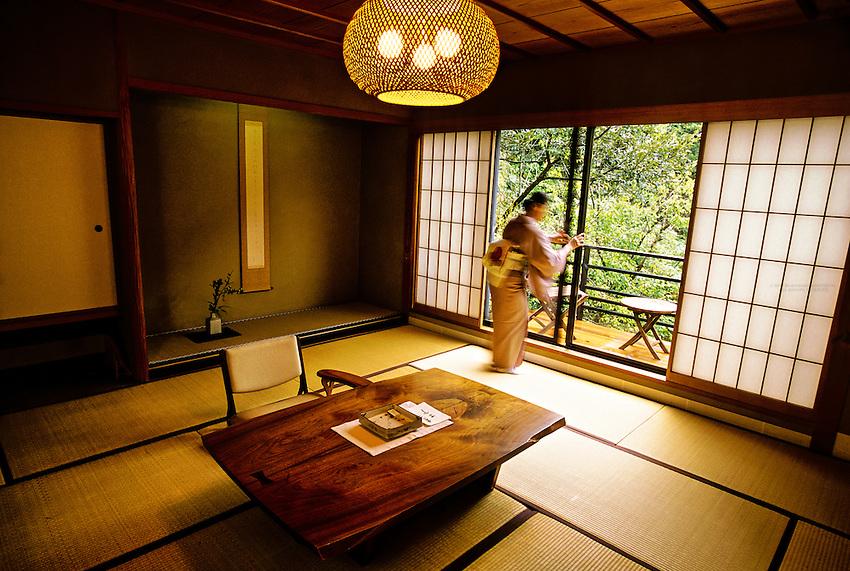 Guest room, Kayotei Ryokan (traditional Japanese style inn), Yamanaka Onsen (Yamanaka Hot Springs), Japan