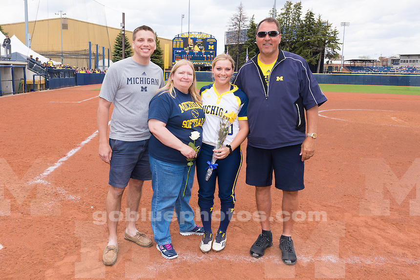 The University of Michigan softball team defeats Rutgers, 8-0, on Senior Day at the Wilpon Complex in Ann Arbor, MI. on May,8 2016.