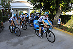 Team Sky morning training ride before Stage 1 of the La Vuelta 2018, an individual time trial of 8km running around Malaga city centre. Mijas, Spain. 23rd August 2018.<br /> Picture: Eoin Clarke | Cyclefile<br /> <br /> <br /> All photos usage must carry mandatory copyright credit (© Cyclefile | Eoin Clarke)