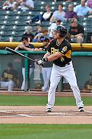 Cal Towey (14) of the Salt Lake Bees at bat against the Albuquerque Isotopes in Pacific Coast League action at Smith's Ballpark on August 30, 2016 in Salt Lake City, Utah. The Bees defeated the Isotopes 3-2. (Stephen Smith/Four Seam Images)