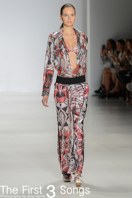 A model walks the runway at the Custo Barcelona fashion show during Mercedes-Benz Fashion Week Spring 2015 at The Salon at Lincoln Center on September 7, 2014 in New York City.
