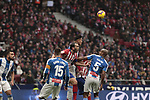 Atletico de Madrid's Diego Godin and RCD Espanyol's David Lopez (L) and Edinaldo Gomes 'Naldo' (R) fight for the ball during La Liga match between Atletico de Madrid and RCD Espanyol at Wanda Metropolitano Stadium in Madrid, Spain. December 22, 2018. (ALTERPHOTOS/A. Perez Meca)