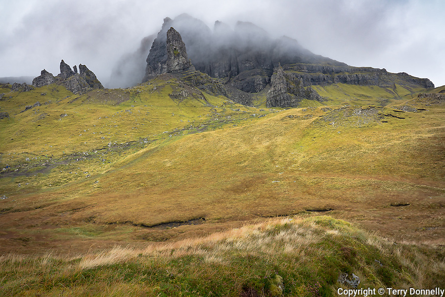 Isle of Skye, Scotland:<br /> Old Man of Storr. Peaks of the Totternish ridge, in a clearing storm