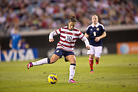 February 9, 2013:  USA Women's National Team midfielder Carli Lloyd (10) prepares to make a kick on the goal during action between the USA Women's National Team and Scotland at EverBank Field in Jacksonville, Florida.  USA defeated Scotland 4-1............