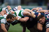 The Ealing Trailfinders and Doncaster Knights packs in action at a scrum. Greene King IPA Championship match, between Ealing Trailfinders and Doncaster Knights on February 9, 2019 at the Trailfinders Sports Ground in London, England. Photo by: Patrick Khachfe / Onside Images